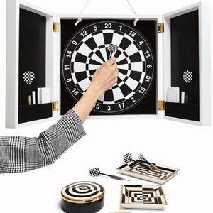 JONATHAN ADLER op art black & white Dartboard set